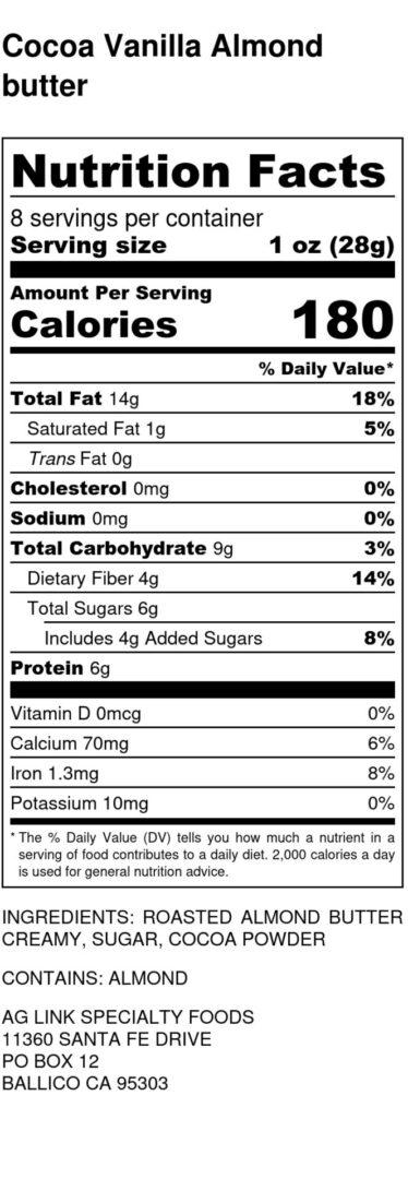 Cocoa Vanilla Almond butter - Nutrition Label