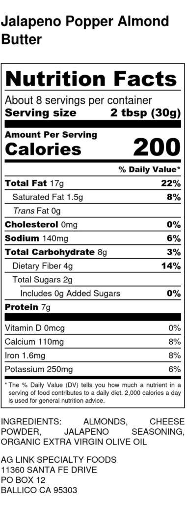 Jalapeno Popper Almond Butter - Nutrition Labe