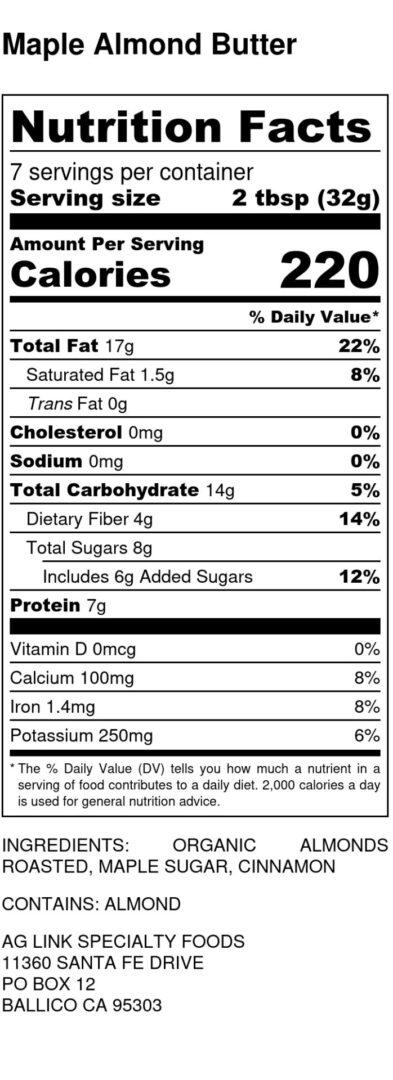 Maple Almond Butter - Nutrition Label