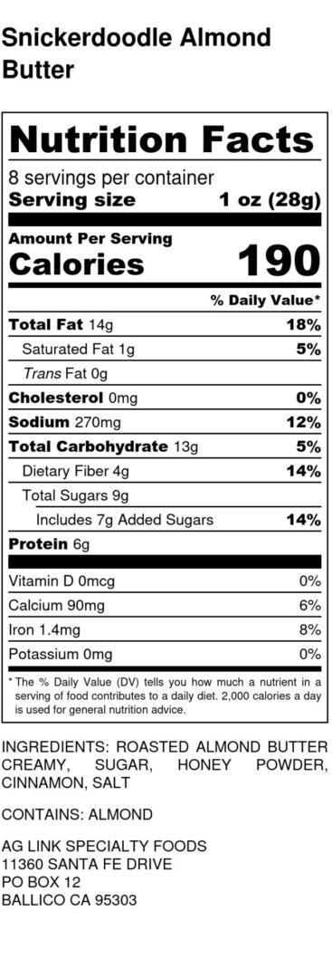 Snickerdoodle Almond Butter - Nutrition Label